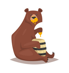 Bear eating sweet honey vector