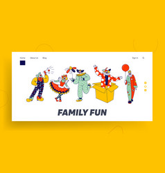 Big top circus clowns landing page template funny vector