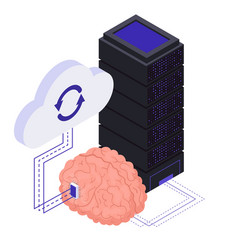 brain implants technologies isometric symbols vector image