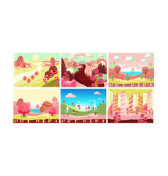 candy land bright sweet fantasy landscape vector image