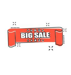 cartoon big sale ribbon icon in comic style vector image