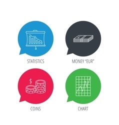 Chart cash money and statistics icons vector image
