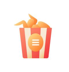 chicken wings bucket flat color icon vector image