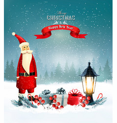 Christmas background with presents and santa vector
