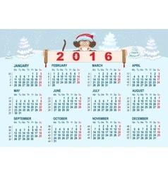 Christmas calendar Monkey in santa hat symbol vector