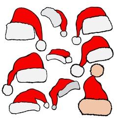 Christmas Santa Claus hats vector image