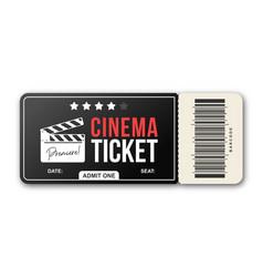 cinema ticket on white background movie ticket vector image