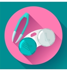 contact lens case container and tweezers vector image