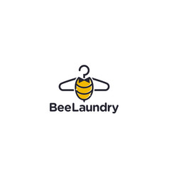 Creative and cute bee for laundry logo design vector