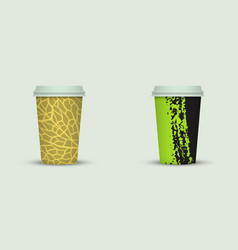 creative watercolor coffee cup set vector image