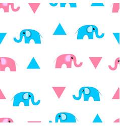 cute cartoon elephants and triangles seamless vector image