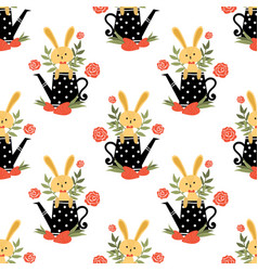 cute rabbit seamless pattern vector image