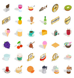 different beverage icons set isometric style vector image