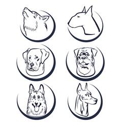 dog head logo elements vector image