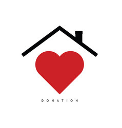 Donate symbol with red heart and roof vector