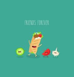 doner tomato garlic friends forever vector image