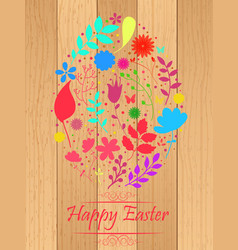 Easter egg made from flowers on wooden background vector