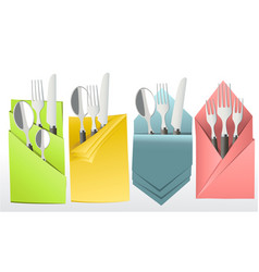 elegant cutlery in decorative napkin vector image vector image