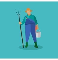 Farmer with pitchfork and bucke vector