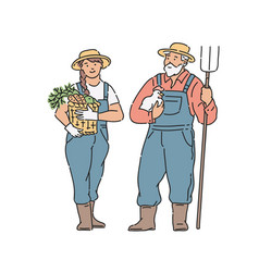 farmer woman and man with vegetable chicken and vector image