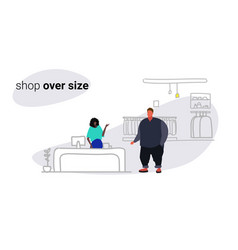 fat overweight man standing at cash desk counter vector image