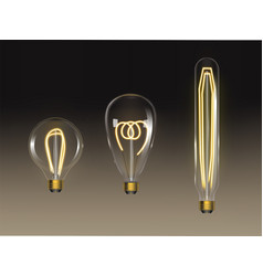 filament bulbs set retro edison lamps isolated vector image