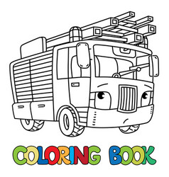 Fire truck or firemachine with eyes coloring book vector