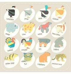 Flat design animals icon set Zoo children vector