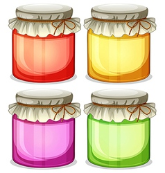 Four colorful jars that are tightly covered vector