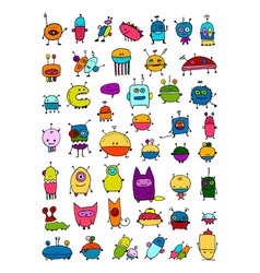 Funny aliens collection sketch for your design vector