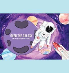 Galaxy frame design with planet astronaut vector