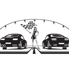 Grid girl launches car race vector image