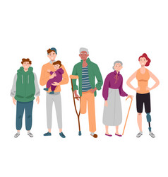 Group diverse people mixed age standing vector