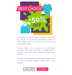 Half price off best choice promotional logotype vector