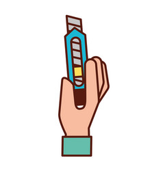 Hand holding cutter graphic design vector