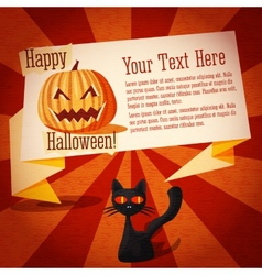 Happy halloween cute retro banner on the craft vector