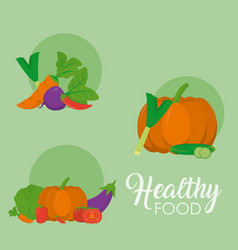 Healthy food icons vector