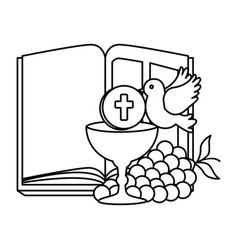 Holy bible with chalice and grapes vector