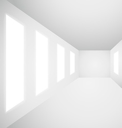Interior gallery windows empty room vector
