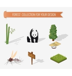 Isometric 3d forest camping elements vector
