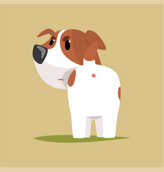 Jack russell puppy character back view cute funny vector