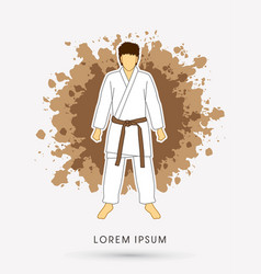 Karate suit with brown martial arts belts vector
