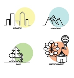 Landscape icons set vector image