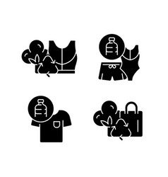 Lessening impact on environment black glyph icons vector