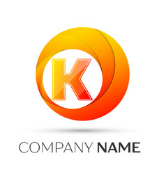 Letter k logo symbol in the colorful circle on vector