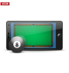 Mobile phone with billiard ball and field on the vector image