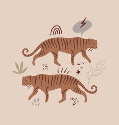 modern cartoon flat tiger print pop art style vector image
