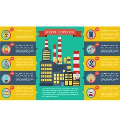 Modern industrial flat infographic background vector image