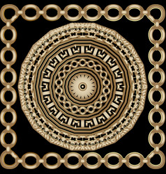 Ornamental gold round mandala and square frame vector