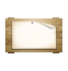paper blank on wooden board vector image vector image